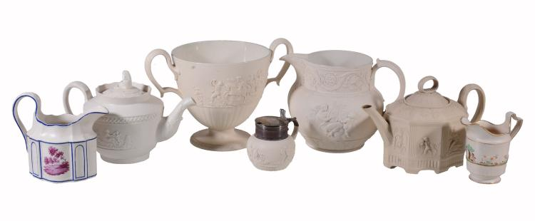 A selection of Staffordshire white felspathic stoneware, early 19th century