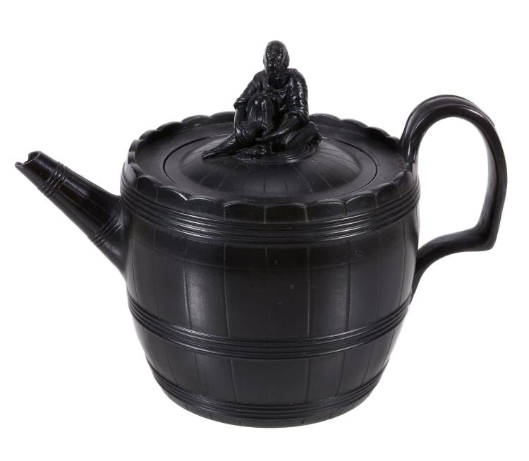 A Neale & Co. barrel-shaped faux bois teapot and cover, circa 1785