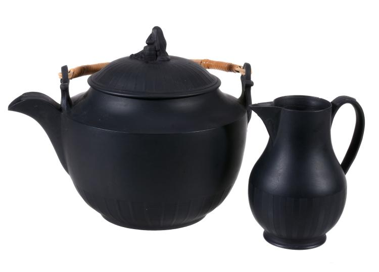 A W black basalt kettle and cover with 'widow' finial, circa 1800