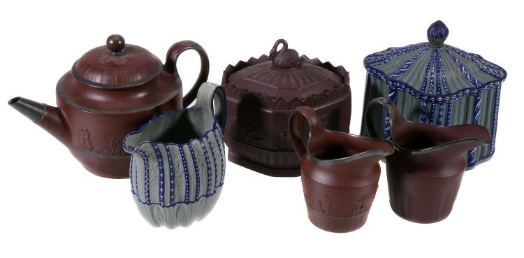 Four items of Samuel Hollins deep-red stoneware , circa 1800, comprising