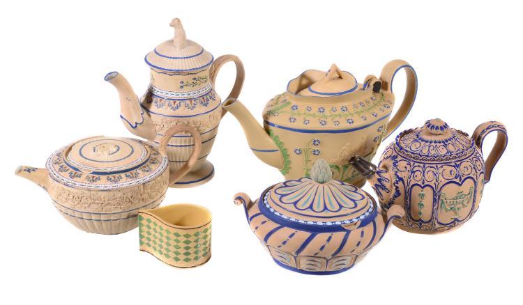 A miscellaneous collection of English enamelled caneware, circa 1800