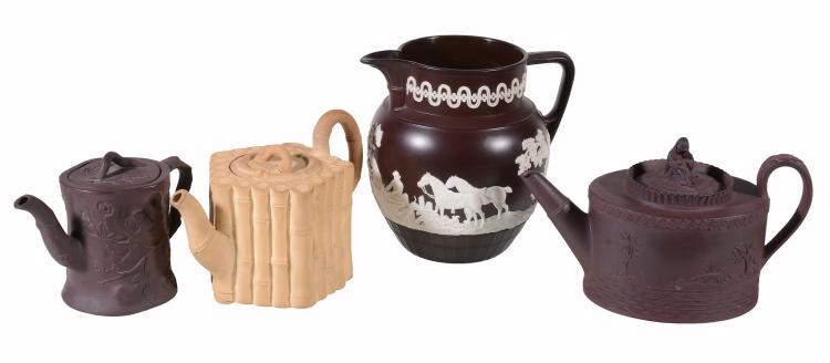 Four items of English dry-bodied stoneware, circa 1800, comprising