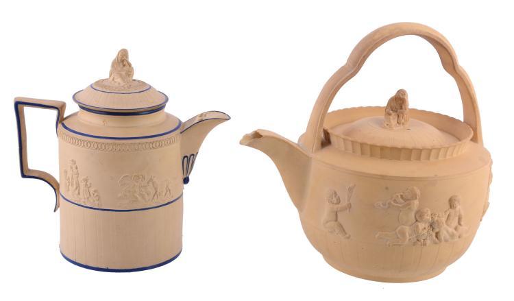 An Elijah Mayer caneware cylindrical teapot and cover, circ a 1800