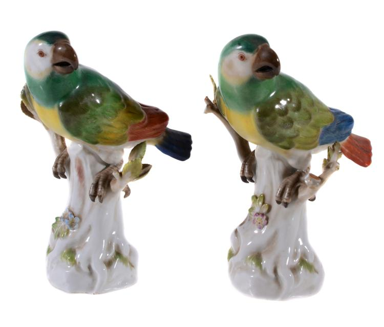 Two similar Meissen models of parrots, mid 20th century