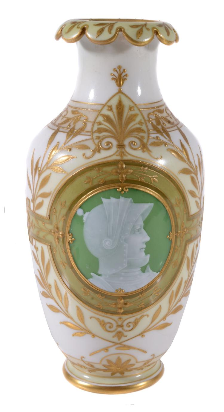 A Berlin porcelain pate-sur-pate shouldered vase by Hermann Thiele , circa 1890