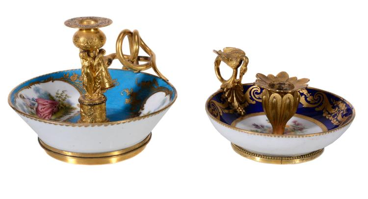 Two similar Sevres-style gilt-metal-mounted saucers mounted as chambersticks