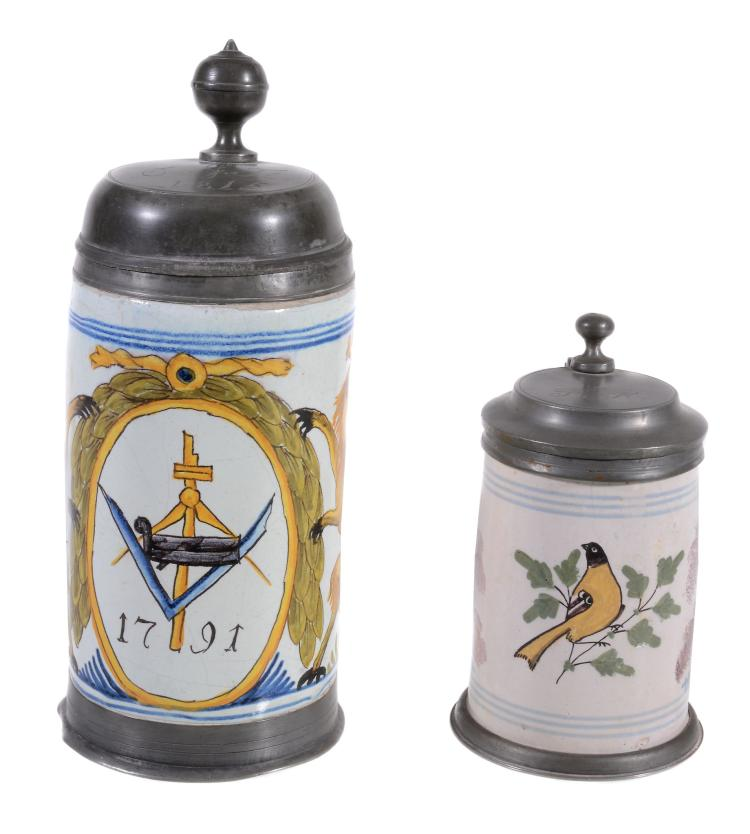 A dated German fayence and pewter-mounted Masonic polychrome tankard