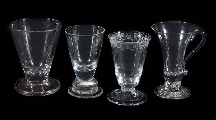 Four assorted jelly/firing glasses, various dates mid 18th century, comprising