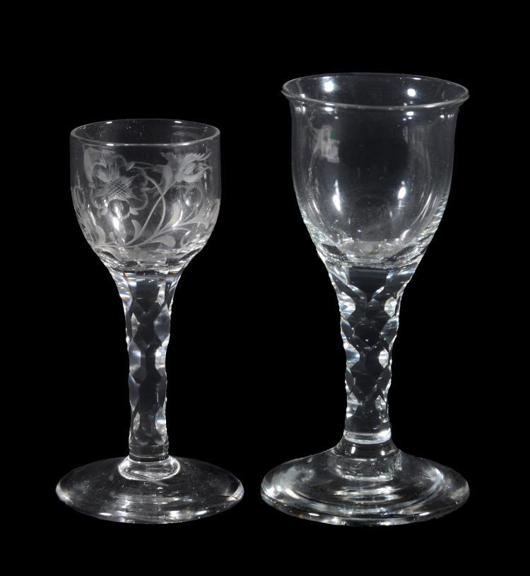 An engraved facet-stemmed wine glass, circa 1780