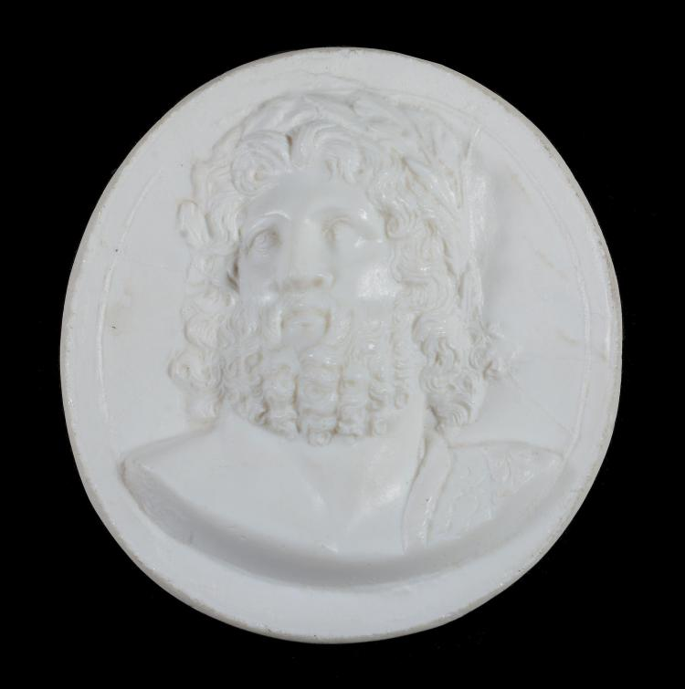 An opaque-white glass-paste round medallion of James Tassie type