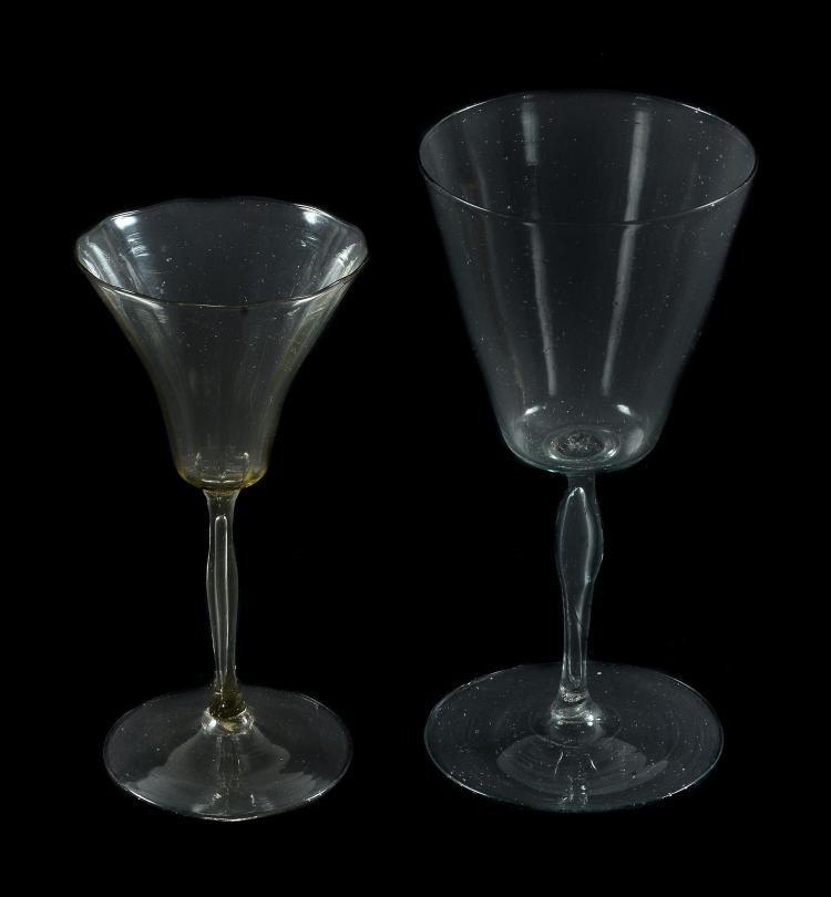 A French pale-straw tint facon de Venise wine glass, 18th century