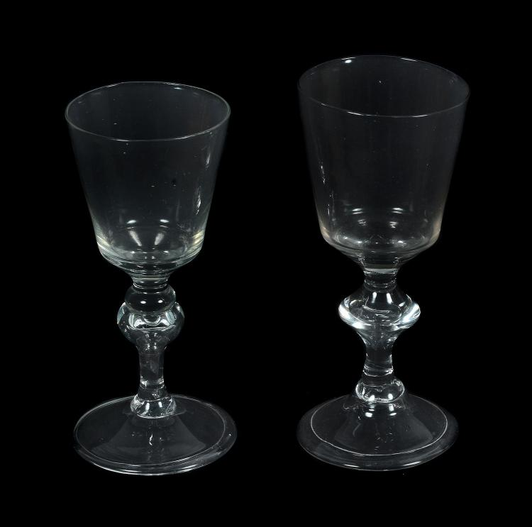 A Continental baluster wine glass, 18th century, probably French