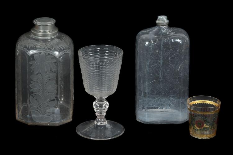 Four items of Bohemian/German glass, various dates 18th century, comprising