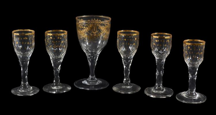 A gilt facet-stemmed wine glass, late 18th/early 19th century, possibly Spanish