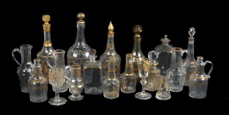 A mixed assortment of mostly Bohemian gilt and cut glass