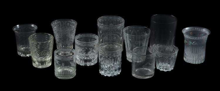 Twelve various French glass commemorative beakers, various dates