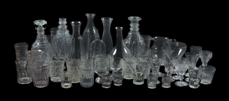 A miscellaneous selection of mostly French drinking glass