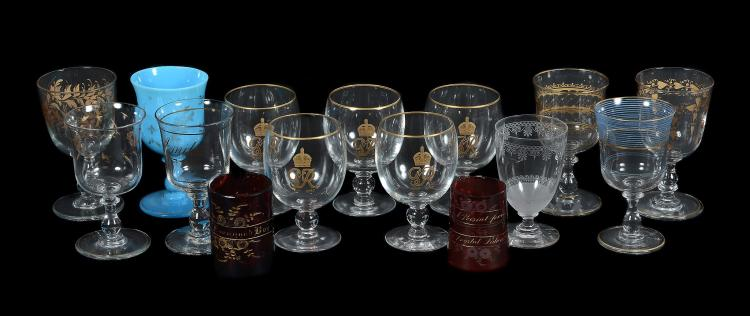 Six various French clear glass and gilt wine goblets