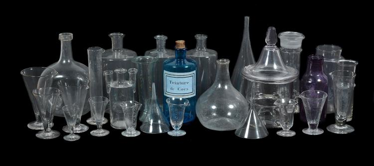 A miscellaneous selection of glass vessels mostly for scientific purposes