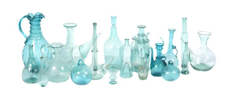 A selection of mostly French green bottle glass, mostly 19th century or later
