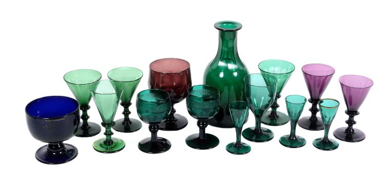 A miscellaneous selection of English coloured glass, mostly 19th century