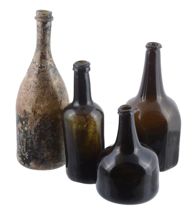 Three various English wine bottles, various dates mostly 18th century