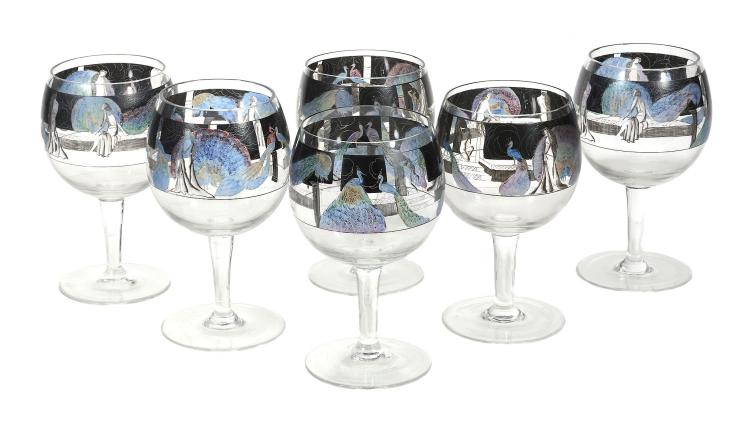 A set of six Art Deco Vedar enamelled glass goblets