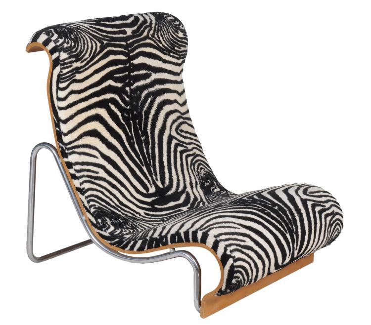 Jorn Utzorn for Fritz Hansen, a tubular steel, plywood and upholstered chair
