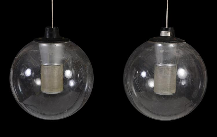 A set of six spherical perspex lanterns, late 20th century, of industrial type