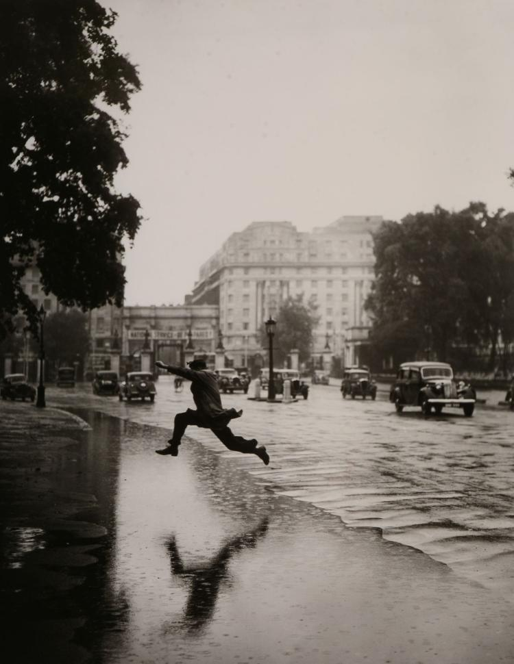 J.A. Hampton (active 1930s-40s) - Flooded Road near Hyde Park, 1939