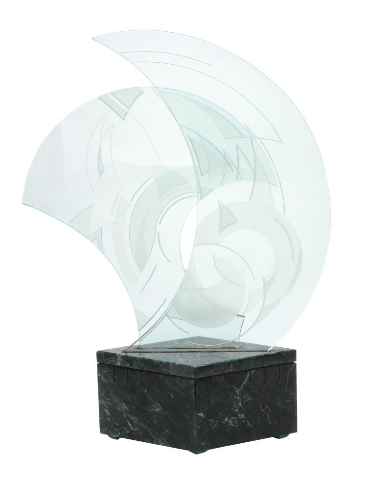 Susan Jacobs Lockhart , a clear and etched glass table lamp, on a marble base