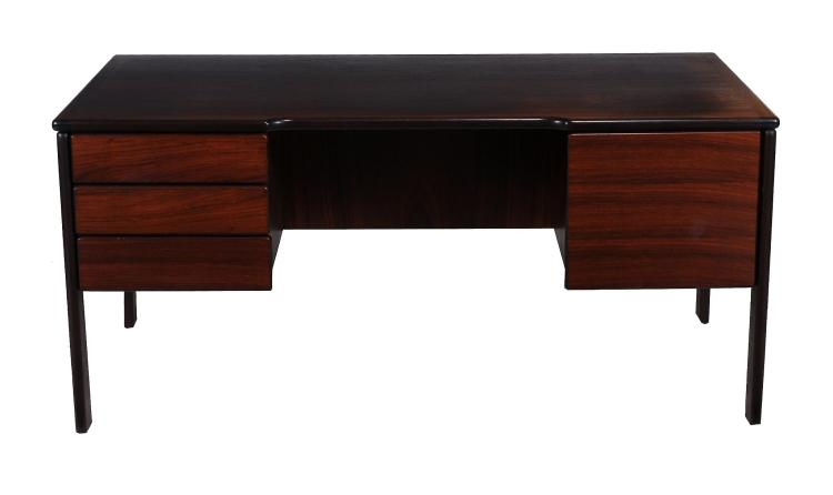 A Danish rosewood veneered pedestal type desk by Bornholm Mobelfabrik, labelled