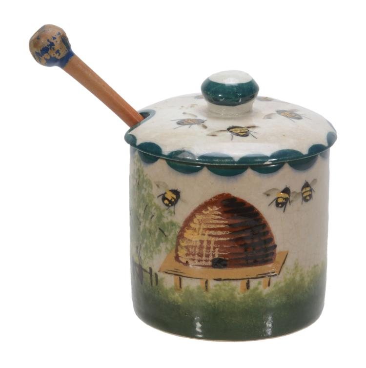 A Wemyss small honey pot and cover, circa 1900, painted with bees and a skep