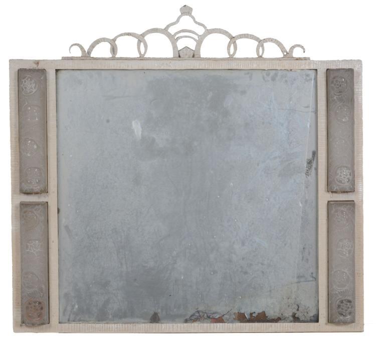 A French Art Deco wrought iron wall mirror, circa 1930