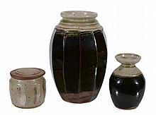 Richard Batterham , a stoneware facetted vase, 28cm high; a small vase