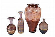 John Bedding , a raku tall vase, seal mark, 39cm high; a matt copper raku vase