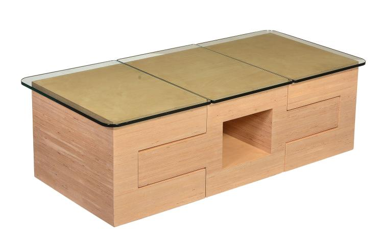 Tim Hitchens for Design By Timber, a laminated wood three section coffee table
