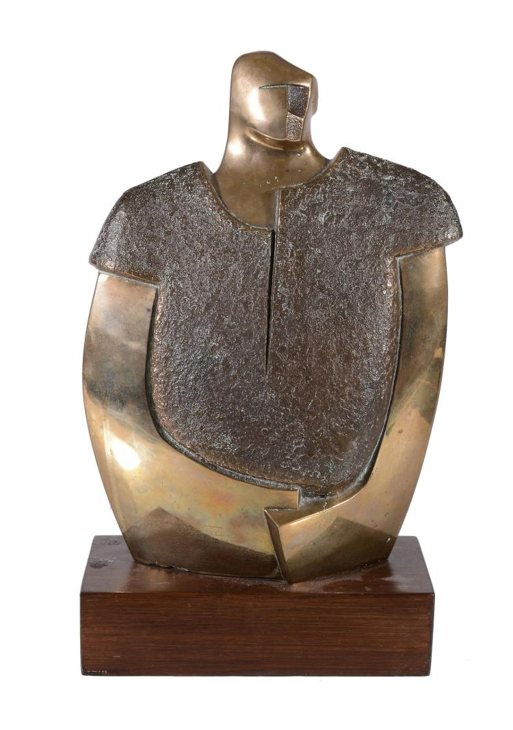 A 20th century bronze torso, polished and textured, signed with a monogram JB