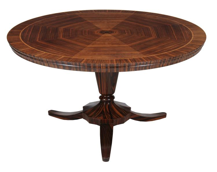 A Swedish 'zebra wood' centre table, second half 20th century, 75cm high