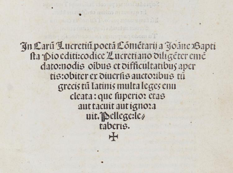 Lucretiur Caro (Titus).- Pio (Giovanni Battista) - In Carum Lucretium poeta Commentarii,
