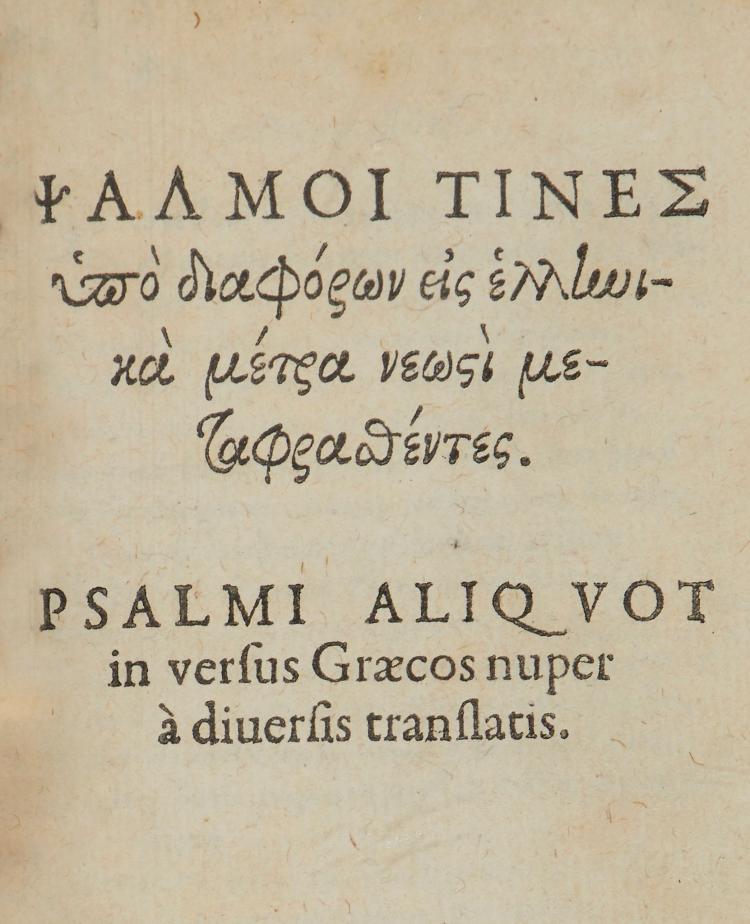 Bible, - Latin .- Buchanan Paraphrasis Psalmorum Davidis Poetica.