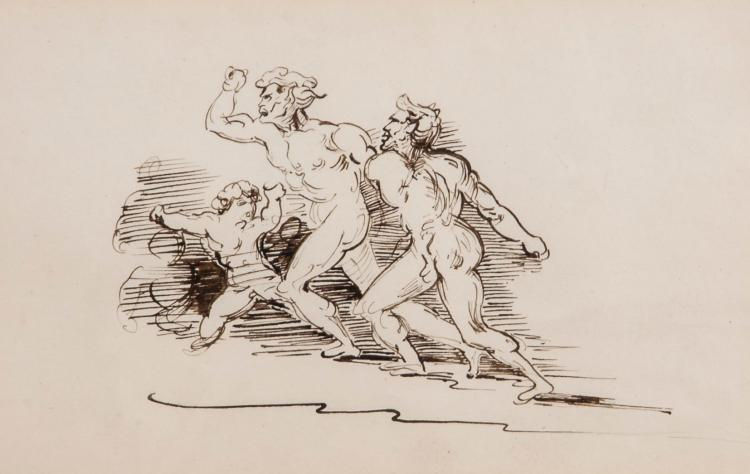 French School (19th century) - Sketch of classical figures running,