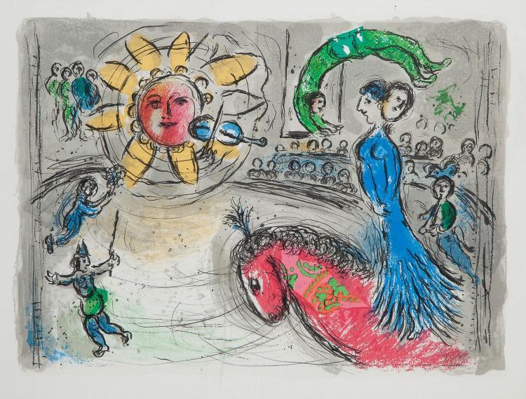 Chagall (Marc) - Acrobate sur Fond Vert