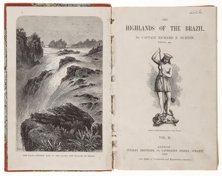 South America.- Burton - Explorations of the Highlands of the Brazil ; with a full account...
