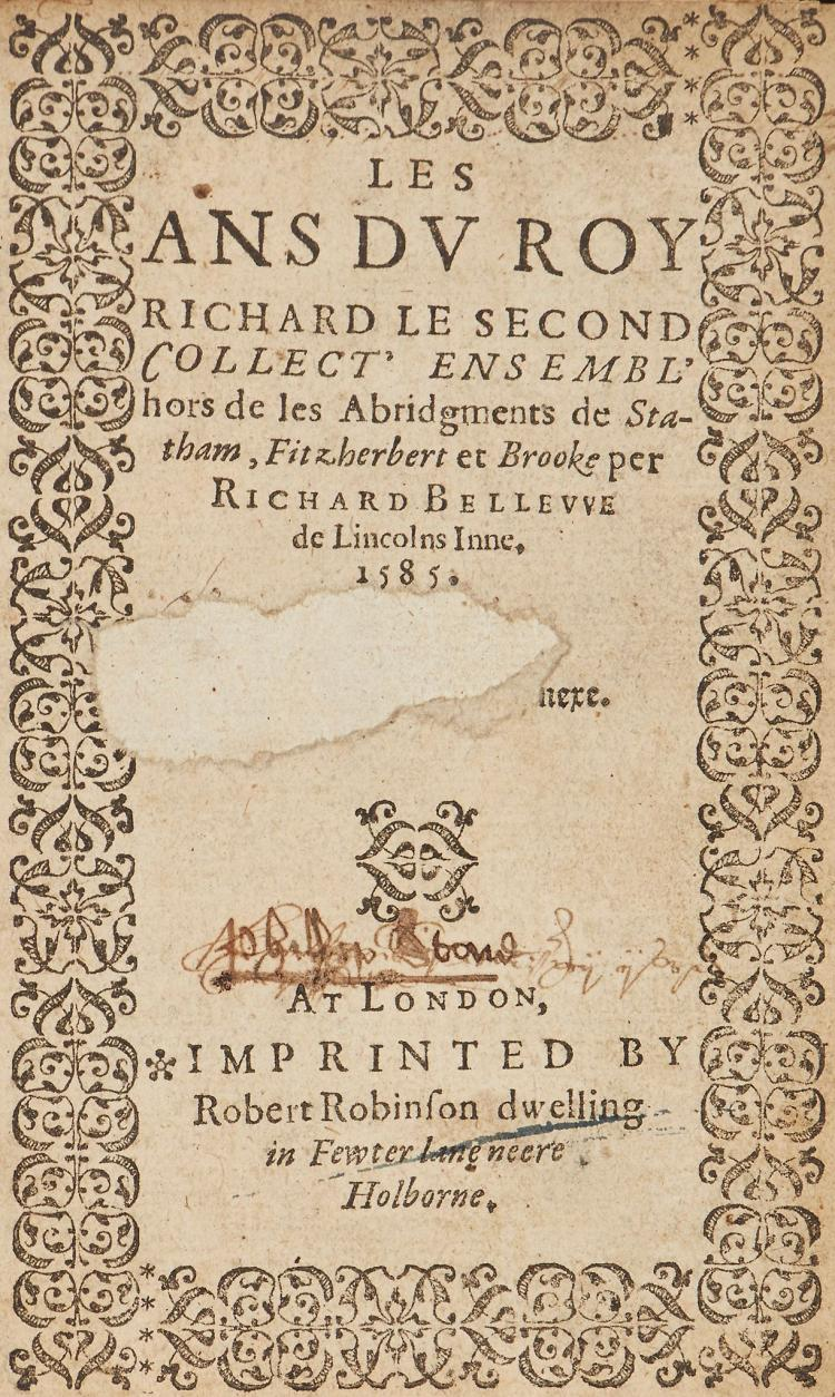 Law,- Bellew (Richard) - Les Ans du Roy Richard le Second collect' ensembli' de les Abridgements de Statham, Fitzherbert