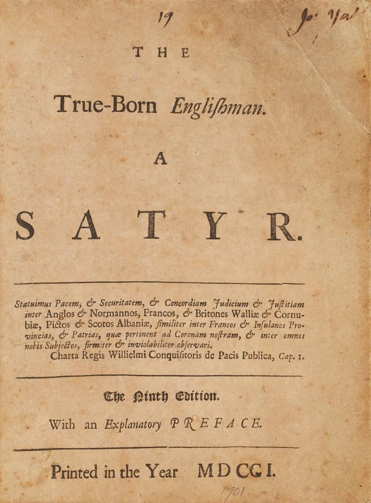[Defoe (Daniel)] - The True Born Englishman, A Satyr,