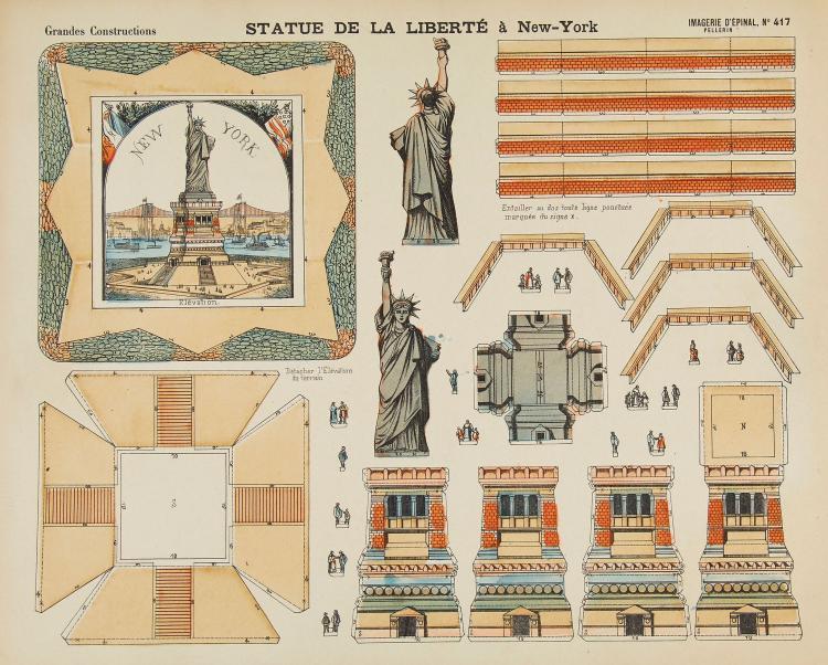 Toy Theatre.- - A group of 12 uncut Imagerie d'Épinal 'Grandes Constructions' sheets,