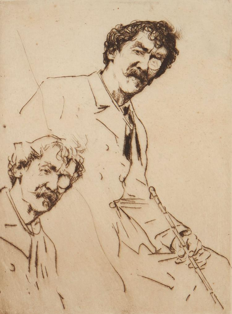 Menpes (Mortimer) - Dual Faces with Cane (Double portrait of Whistler),