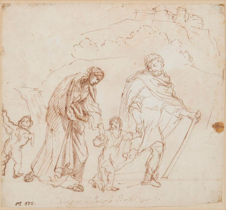 Bril (Paul) Circle of. - The Holy Family in a landscape with putto,