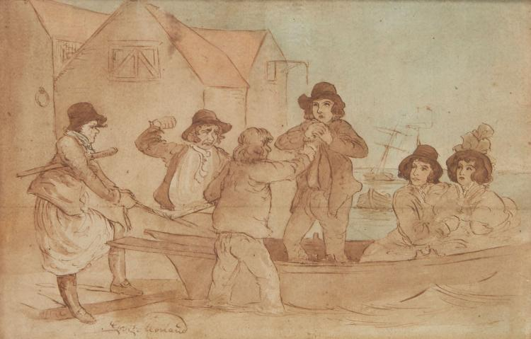 English School (18th century) - A caricature drawing of four men fighting in a rowing boat with two ladies watching from the stern,